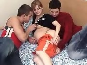 Cute pregnant teenie licked by guys